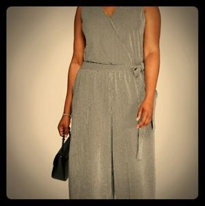 Pants - Black & White Striped Belted Sleeveless Jumpsuit